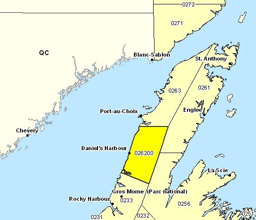 Sous-région de prévisions de Parson's Pond - Hawke's Bay