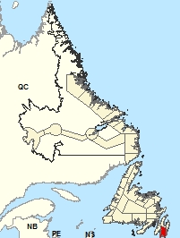 Carte de localisation - Péninsule d'Avalon Sud-Est