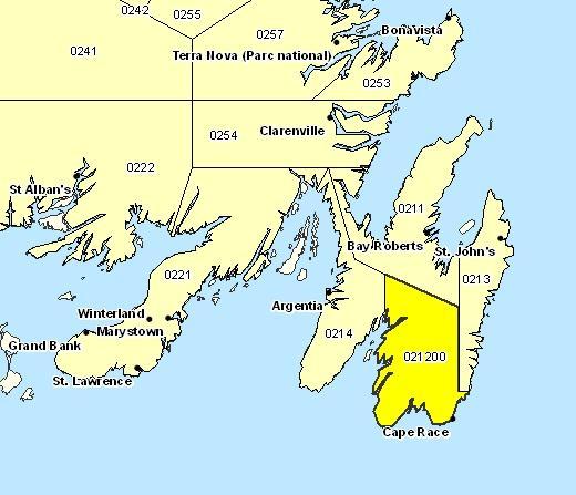 Sous-région de prévisions de Péninsule d'Avalon Sud-Est