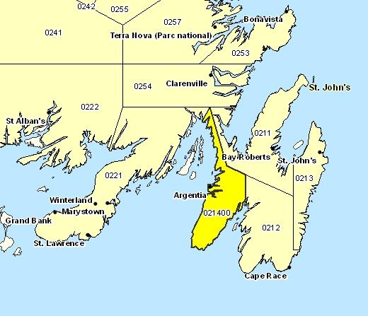 Sous-région de prévisions de Péninsule d'Avalon Sud-Ouest