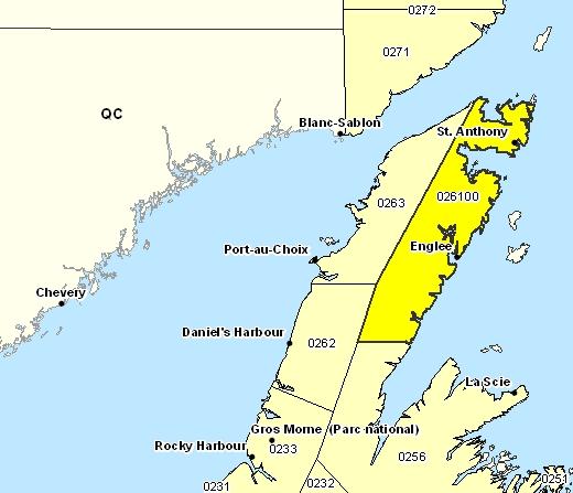 Sous-région de prévisions de la péninsule Northern Est