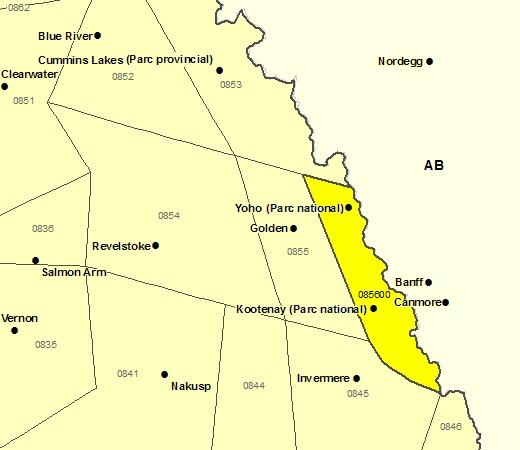 Sous-régions de prévisions du parc national Yoho et du parc national Kootenay