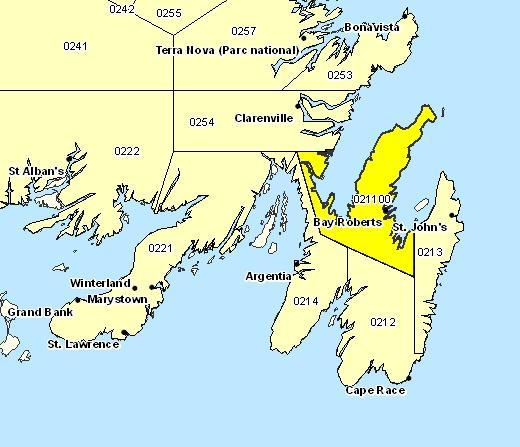 Sous-région de prévisions de la péninsule d'Avalon Nord