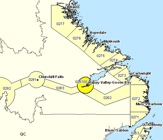 Sous-région de prévisions de la partie supérieure du lac Melville
