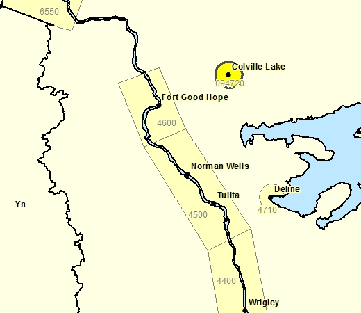 Sous-région de prévisions - Colville Lake