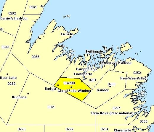 Sous-région de prévisions de Grand Falls-Windsor et les environs
