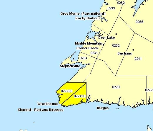 Sous-région de prévisions de Channel-Port aux Basques et les environs