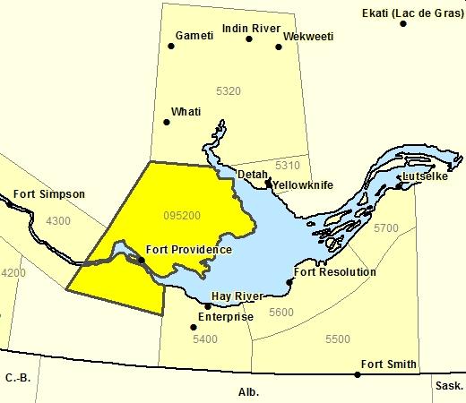 Sous-région de prévisions de la région de Ft. Providence incluant Kakisa - lac Chan