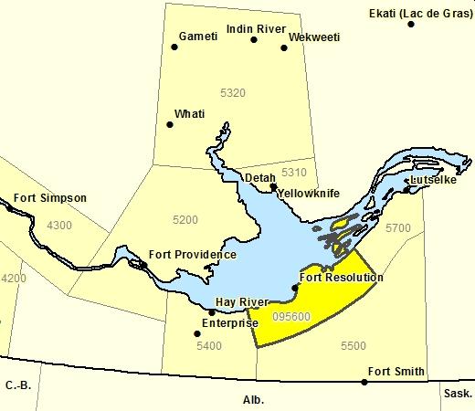 Sous-régions de prévisions de la Région de Fort Resolution incluant la rte 6