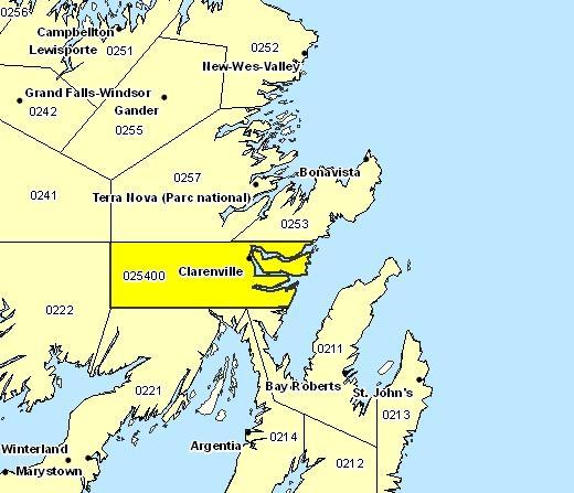 Sous-région de prévisions de Clarenville et les environs
