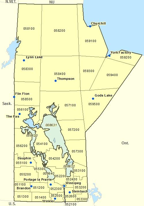 Warning regions of Manitoba