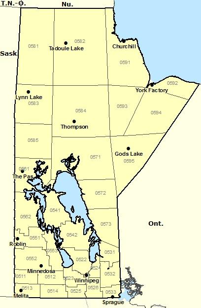 Régions d'avertissements/d'alertes pour le Manitoba