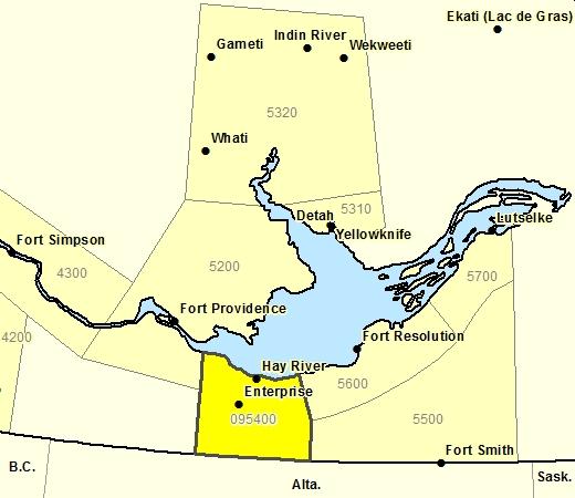 Forecast Sub-regions of Hay River Region including Enterprise