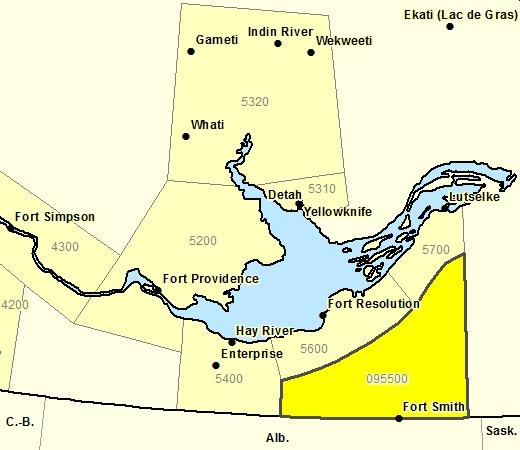 Sous-région de prévisions de la région de Thebacha incl. Ft. Smith - réserve de Salt River