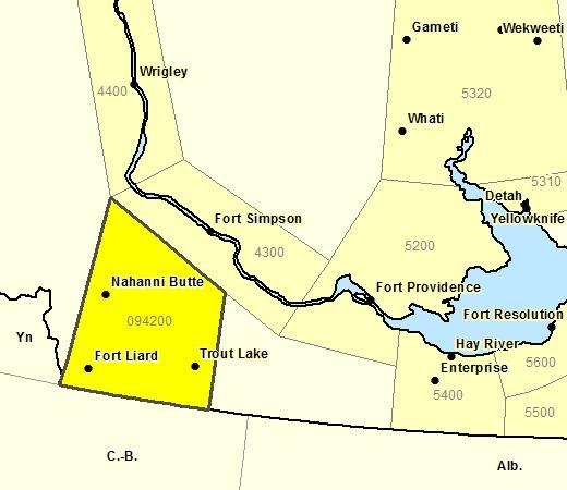 Sous-région de prévisions de la région de Ft. Liard incluant Nahanni Butte - Trout Lake