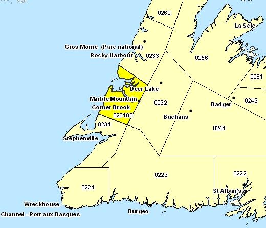 Sous-région de prévisions de Corner Brook et les environs