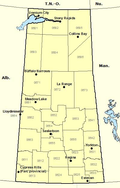 Carte de la Saskatchewan