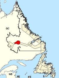 Carte de localisation - Churchill Falls et les environs