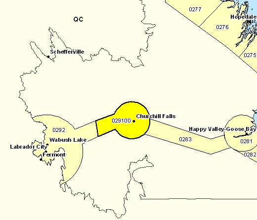 Forecast Sub-regions of Churchill Falls and vicinity
