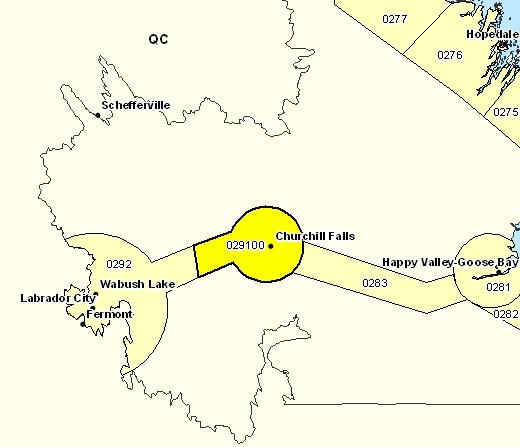 Sous-région de prévisions de Churchill Falls et les environs