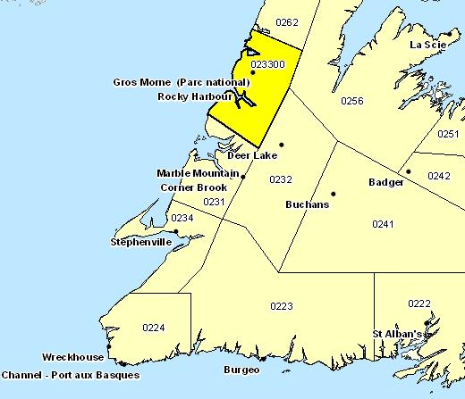 Sous-région de prévisions de Gros-Morne