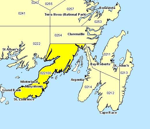 Forecast Sub-regions of Burin Peninsula
