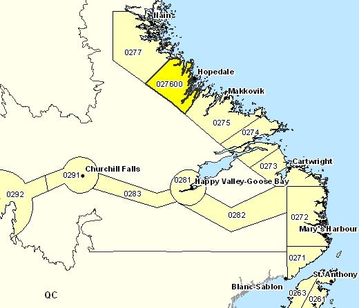 Sous-région de prévisions de Hopedale et les environs